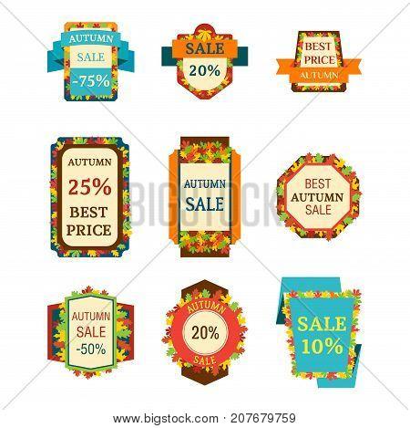 Super sale autumn extra bonus leaf banners text label business shopping internet promotion discount offer vector illustration. Internet promotion shopping advertising discount promotional marketing.