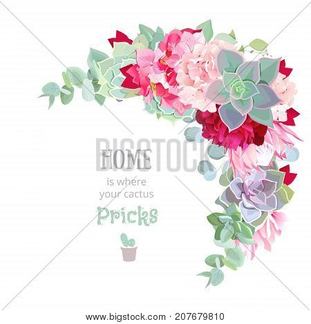 Wild desert floral crescent shaped vector frame with succulents, echeveria, hydrangea, protea, eucalyptus, peony. Rustic craft bouquet. Wedding template. All elements are isolated and editable