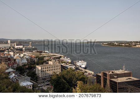 Aerial view of skyline and Saint Lawrence stream in Quebec City Canada.