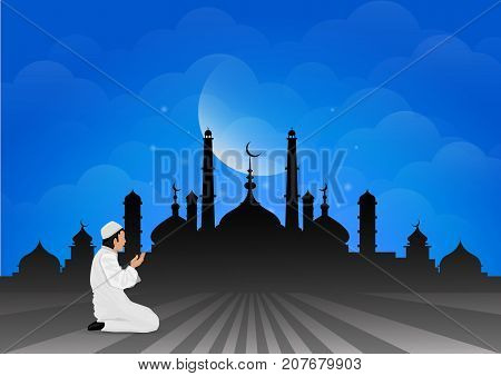 Traditional clothes muslim man making a supplication (salah) while standing on a praying rug against the backdrop of the mosque. illustration.