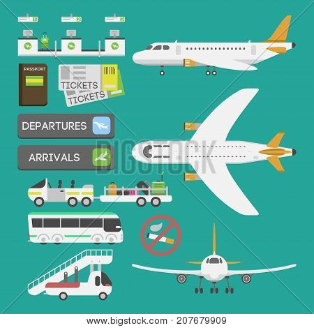 Plane airport transport symbols flat design illustration station concept air port symbols departure luggage plane. Lounge boarding flight tourism vector.