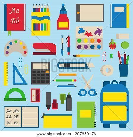 School icon flat set with blackboard students isolated vector illustration. Mathematics learning teaching art. Science university graduation symbols.
