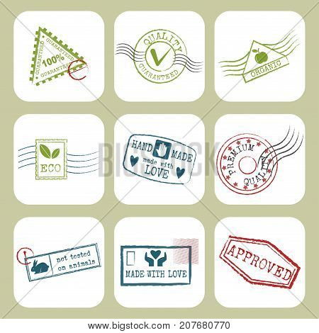 Travel stamps fictitious international airport symbols. Grunge passport or postage sign. Departure tourism arrival letter frame destinations holiday mail.