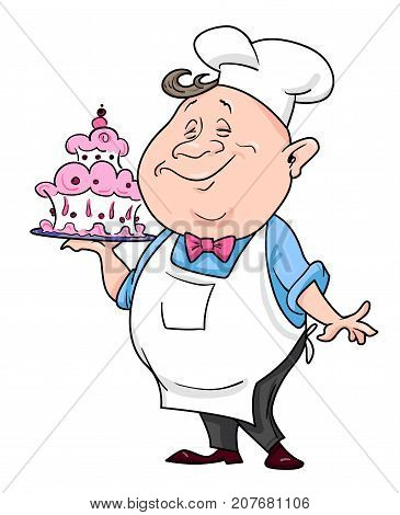 Cartoon image of chef. An artistic freehand picture.