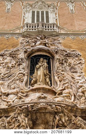 Madonna and Child with Cherubs in Arch of Church