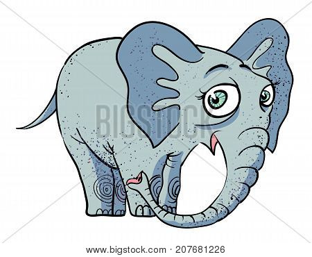Cartoon image of cute elephant. An artistic freehand picture.