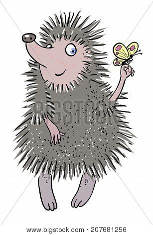 Cartoon image of cute hedgehog. An artistic freehand picture.