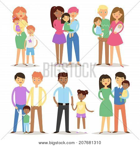 Happy different family couples characters mother father baby multinational people together vector illustration. Multiethnic cheerful relationship man woman kids.