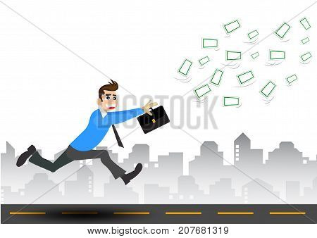 vector businessman trying to catch money illustrator