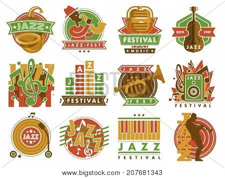 Jazz music festival label with saxophone wind instruments fest and microphone music logo badge vector illustration. Retro acoustic vintage musical sound band concert.