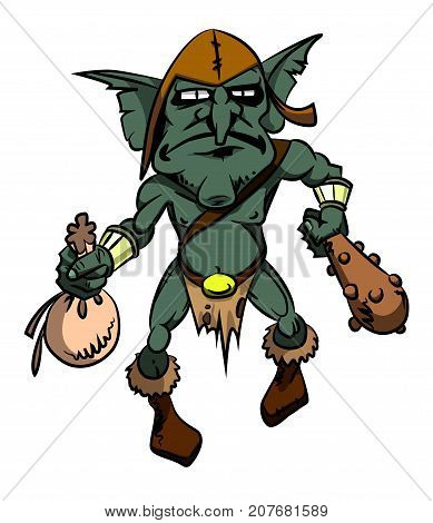 Cartoon image of goblin. An artistic freehand picture.