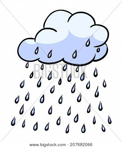 Cartoon image of Rain. Cloud rain symbol. Modern forecast storm sign. Weather, internet concept. An artistic freehand picture.