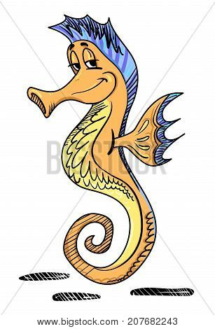 Cartoon image of seahorse. An artistic freehand picture.