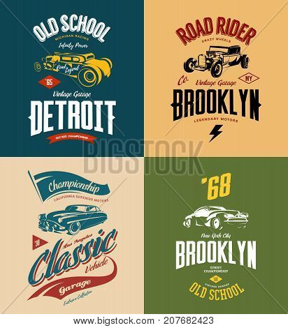 Vintage custom hot rod and classic car vector tee-shirt logo isolated set. Premium quality old sport vehicle logotype t-shirt emblem illustration. American street wear superior retro tee print design.