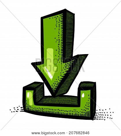 Cartoon image of Torrent download sign. Arrow symbol. An artistic freehand picture.