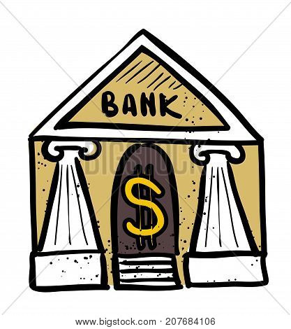 Bank icon hand drawn cartoon. Colorful artwork with color on separate layer.