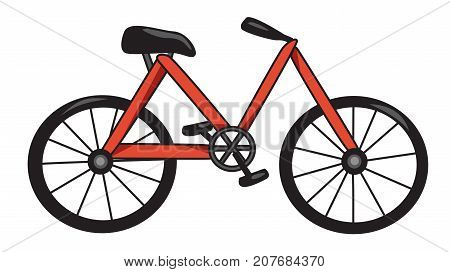 Cartoon image of Bicycle Icon. Bike symbol. An artistic freehand picture.