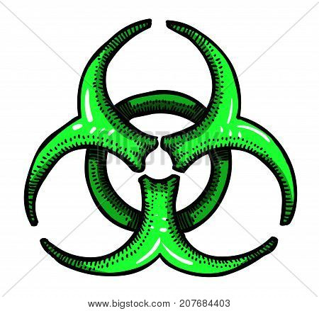 Cartoon image of Biohazard Sign. An artistic freehand picture.