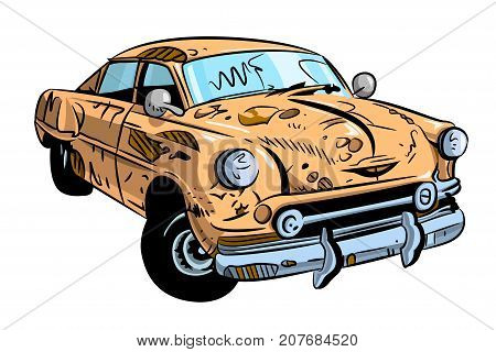Cartoon image of broken down car cartoon. An artistic freehand picture.
