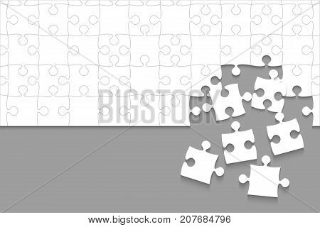 Some White Puzzles Pieces in Grey Background - Vector Illustration. Scattered Jigsaw Puzzle Blank Template. Vector Background.