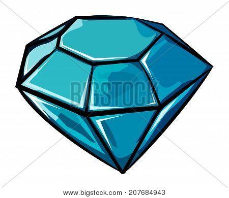 Cartoon image of Diamond Icon. Diamond symbol. An artistic freehand picture.