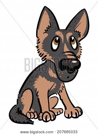 Cartoon image of dog. An artistic freehand picture.