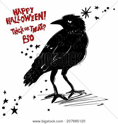 Halloween is coming concept. Vector Halloween retro badge. Overlay or Labels for shirt or logo, print, seal, stamp. Black raven wants a happy Halloween.Typography design- stock vector.