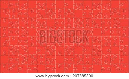 112 Red Puzzles Pieces Arranged in a Square - Vector Illustration. Jigsaw Puzzle Blank Template or Cutting Guidelines. Vector Background.