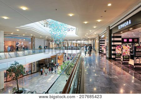Istanbul Turkey - April 15 2017: Interior of Aqua Florya Shopping and Life Center suited in Florya neighborhood Bakirkoy with people visiting the place at the morning