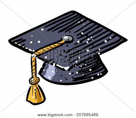 Cartoon image of Graduation cap Icon. Education symbol. An artistic freehand picture.