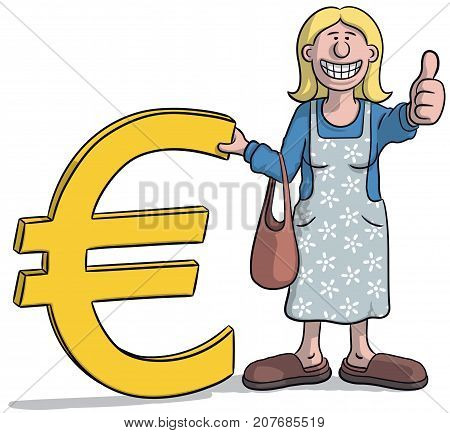 Woman With Euro Sign