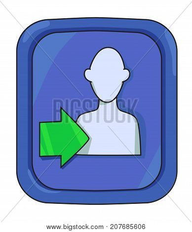 Cartoon image of Login Icon. Approach symbol. An artistic freehand picture.