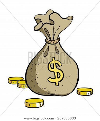 Cartoon image of Money bag Icon. Money symbol. An artistic freehand picture.