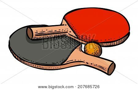 Cartoon image of Ping pong Icon. Sport symbol. An artistic freehand picture.