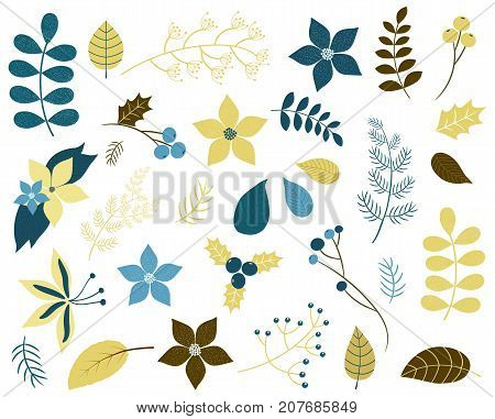 Winter and Christmas foliage with flowers twigs and leaves in blue and gold green colors