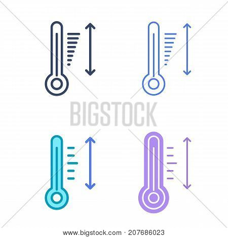 Temperature concept linear symbols. Thermometer line symbols and pictograms. Temperature dimension and measuring vector outline icon set. Thin contour infographic elements for web design, networks.