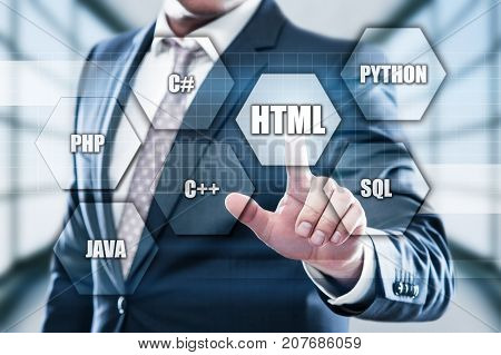 HTML Programming Language Web Development Coding Concept.
