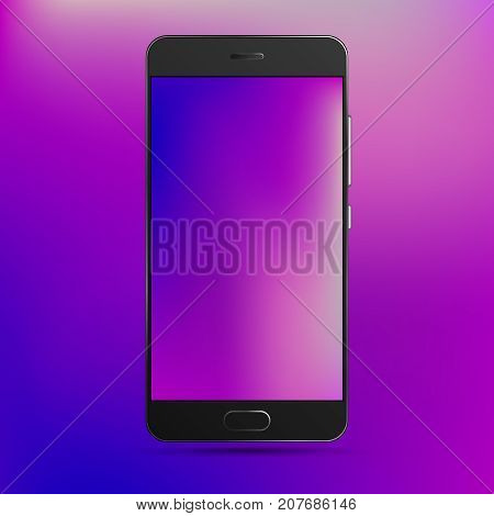 Cell phone template with colorful wallpaper and background. Vector high detailed black smartphone with blank screen.