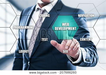Web Development Coding Programming concept on the hexagons and transparent honeycomb structure presentation screen. Man pressing button on display with word in modern office