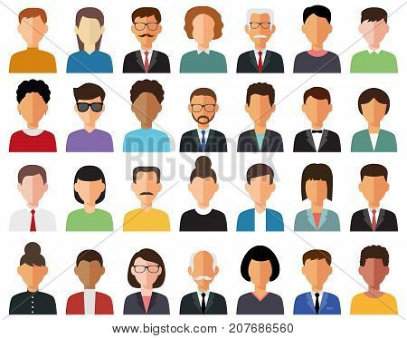 Business men and business women avatar icons.