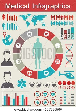 Medical Infographic set, Vector illustration on gray background.
