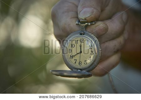Hand held vintage pocket watch for watch. A symbol of the time passes and the hurry that too many people always have.