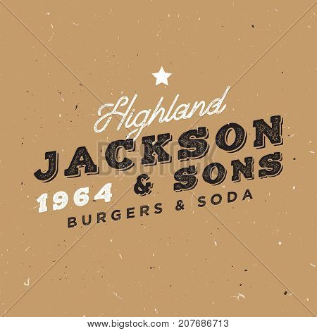 Vintage logo template. Retro insignia for branding projects. Family owned restaurant badge.