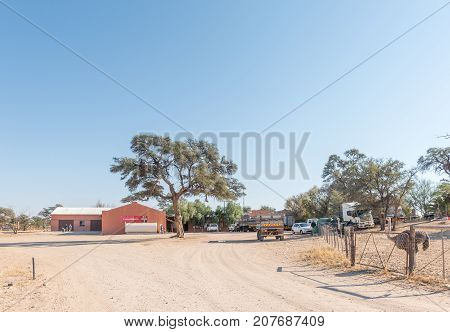 ASKHAM SOUTH AFRICA - JULY 6 2017: A small supermarket and gas station at Loch Maree near Askham a small townin the Northern Cape Province of South Africa