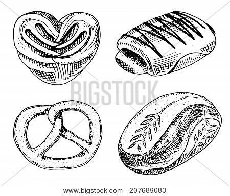 bread and pastry donut, sweet bun or bagels with chocolate. engraved hand drawn in old sketch and vintage style for label and menu bakery shop. organic food of flour