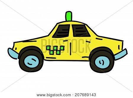 Taxi cab cartoon hand drawn image. Original colorful artwork, comic childish style drawing.