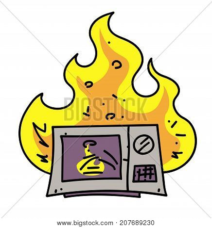 Microwave oven on fire cartoon hand drawn image. Original colorful artwork, comic childish style drawing.