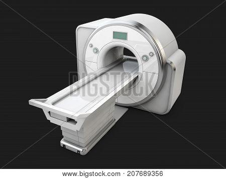 Magnetic Resonance Imaging Machine Isolated On Black Background. Medical Mri Scanner, 3D Illustratio