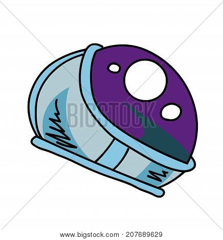 Astronaut helmet cartoon hand drawn image. Original colorful artwork, comic childish style drawing.