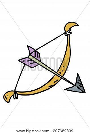 Bow and arrow cartoon hand drawn image. Original colorful artwork, comic childish style drawing.